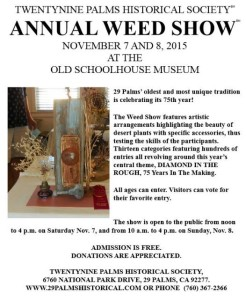 29 Palms Annual Weed Show Nov.7 and 8